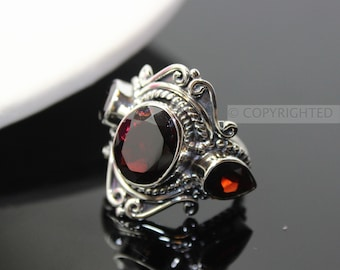 Garnet Ring, 925 Sterling Silver Ring, Gemstone Rings, Crystal Rings, Healing Rings