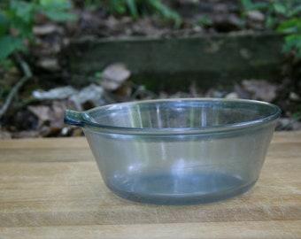 Pyrex Flameware Blue Tint Mixing Bowl / Saucepan with Handle Blue Tinged