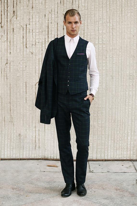 Perfect Mens tartan wool PANTS Mens dress pants Mens plaid tailored NZ97