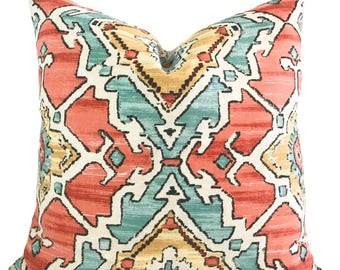 Throw pillow cover, 18x18, Blue pillow cover, Salmon pillow, Decorative pillow, Accent pillow, Couch pillow, Sofa cushion, Toss pillow