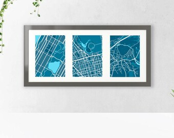 Custom Map Art  |  Meaningful Places Map Trio: Block Style  |  Custom Map Prints, Printable Personalized Gift, Choose Your Location Maps