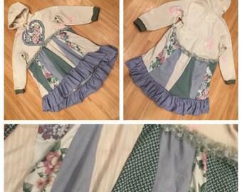 Eco friendly Hoodie Dress; hooded dress, shabby chic mori girl festival hoodie, upcycled patchwork sweatshirt