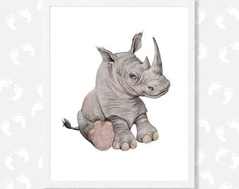 Rhino Art Print Safari Nursery Printable Art Rhino Watercolor Painting Rhinoceros Safari Animal Print Zoo Animals Digital Download Girl Boy