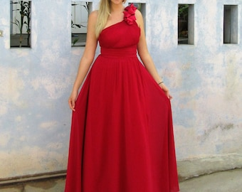 Red Chiffon Maxi Dress | Bridesmaid Dress | Prom Dress | Custom Made Dress | Simple Dress | Red Maxi Dress | Chiffon Dress | Chiffon Maxi