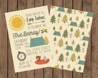 Camping Birthday, Camp Birthday Invite, Camping Birthday Party, Happy Camper Birthday Invitation, Camping Invite, Hiking, Outdoors
