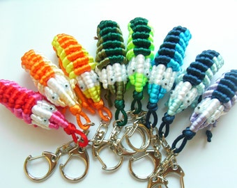 Rainbow Chinese Knot Shrimp Keychain - Cute