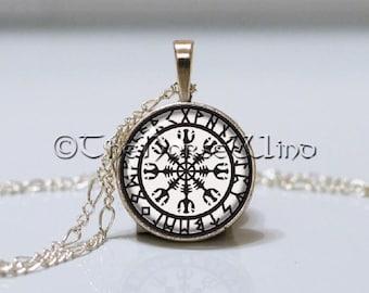 Aegishjalmur Viking Necklace Helm of Awe Silver Rune Necklace Runes Pendant Protection Amulet Viking Jewelry Norse Mythology Asatru
