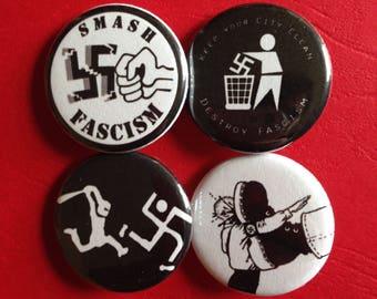 "ANTI FASCISM set of 4 buttons 1.25"""