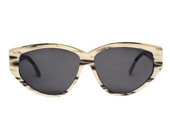 paco rabanne sunglasses - vintage designer 80s sunglasses gold black grey - new old stock - lovely christmas gift for women