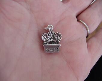 Flowers in A Row Sterling Silver Charm