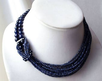 "Necklace of sapphire and 925 sterling silver ""Blue Blood"""