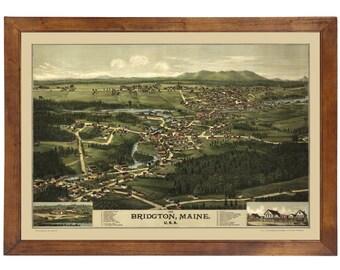 Bridgton, ME 1888 Bird's Eye View; 24x36 Print from a Vintage Lithograph