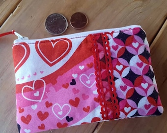 Valentine's Day Coin Purse, Heart Zipper Wallet, Girls Change Purse, Ear Bud Pouch, Heart zipper wallet