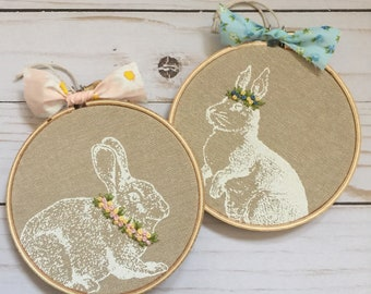 "READY TO SHIP . linen . screen printed bunny . hand embroidered crowns and collars . 4"" . nursery decor . easter . boho bunny . peter rabbit"