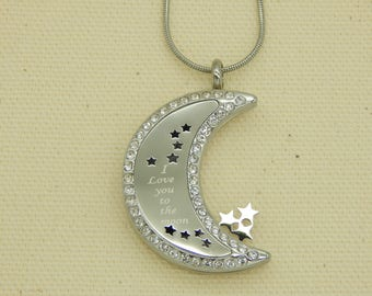 I Love You to the Moon and Back Stainless Steal Moon shaped aromatherapy Locket
