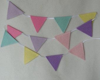 mini felt bunting . sugar candy . pastel colours . garland