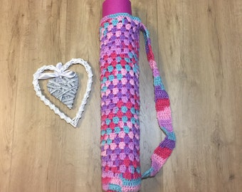 Crochet Granny Square Yoga Bag - Pink/Turquoise/Purple