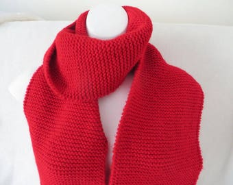 Red Scarf, Red Knit Scarf, Extra Long, 106 inches, Plain Knit Scarf