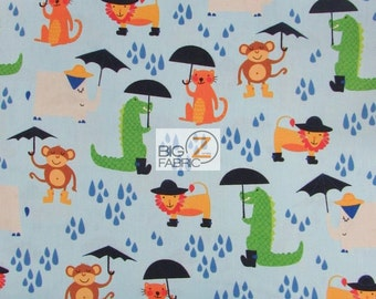 """Rainforest Fun Blue By Arrolynn Weiderhold For Wilmington Prints 100% Cotton Fabric 45"""" Wide By The Yard (FH-1811)"""