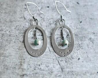 Teal Sterling Silver Earrings   Silver Earrings   Everyday Earrings   Oval Silver Earrings   Bohemian Earrings   Trendy Design  Mothers Gift