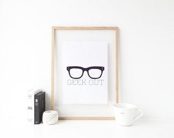 Geek Out Print, Minimalist Art, Glasses Art, Nerd Print, Simple Print, Printable Art, Midnight Pop Designs