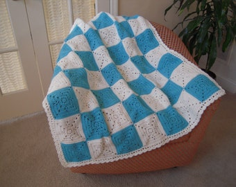 """Crocheted Handmade Baby Afghan/Blanket/Throw, 40"""" Square, Turquoise and Soft White"""