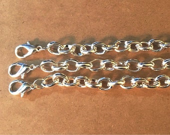 """Large Link Curb Chain - 8"""" with Lobster clasp - Silver tone"""