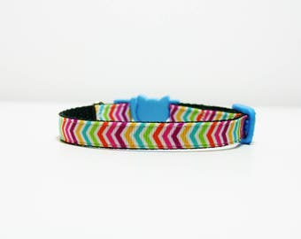 """Breakaway Rainbow Chevron Cat Kitten Puppy Safety 3/8"""" Collar"""