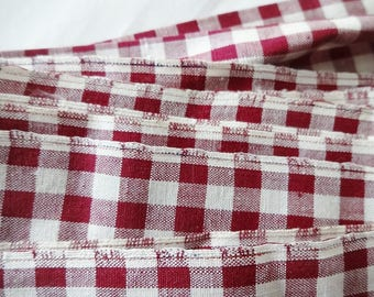 Old Maroon Check Gingham Fabric 5 Yards