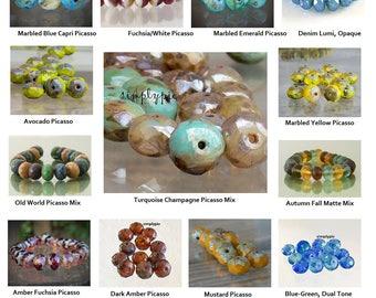 Donut Picasso Czech Beads, 8x6mm 12 Faceted Glass Rondelle Ur Pick Mustard Champagne Denim Fuchsia Capri Yellow Autumn Fall Old World