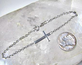 Vintage 925 Sterling Silver Sideways Cross Chain Bracelet, Made in Italy