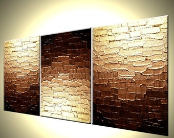 Abstract Gold Painting, Original Palette Knife Art, Mini Bronze Copper Textured Painting, Reflective Metallic Art - RUSH OF GOLD - 12x27