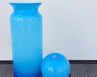 Cased Glass Vessel/ Vase with Bud Vase Lid