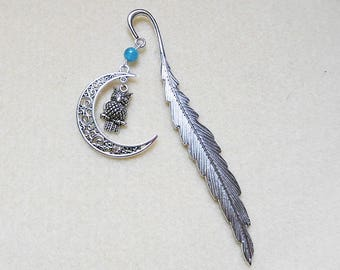 Jewelry Silver feather bookmarks, moon, OWL and Blue Pearl