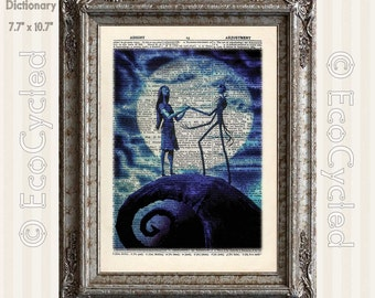 Nightmare Before Christmas 6 Jack Skellington & Sally Romance in Blue on Vintage Upcycled Dictionary Art Print Book Lover Art Love Wedding