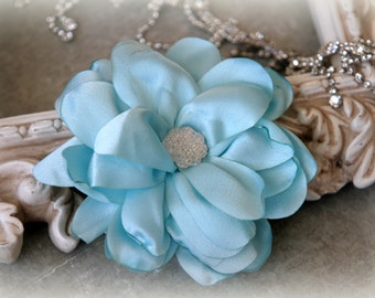 Tresors  Light Blue Satin Flowers with Decorative Center, for Headbands, Clothing, Sashes, Crafting, 4 inches across, FL-328
