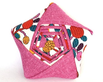Vintage Fabric Star Pillow – Reclaimed/Vintage Folded Fabric Star – Pink and Floral Origami Plush