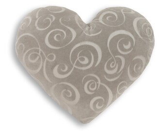 Silver Swirl Heart Shaped Decorative Pillow - Medium Size