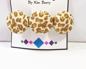 Giraffe Print Fabric Covered Button Barrette- Free Shipping in the US