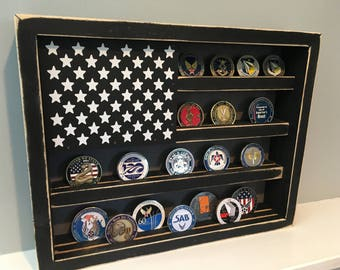 """12"""" x 15"""" Rustic Distressed Military Challenge Coin Display Case Holder US Flag Retirement Gift Army Navy Air Force Marines Coast Guard"""
