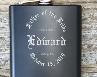 Personalized Father Of The Bride Flask Old English Circle Engraved Bachelor Party Gift Groomsmen