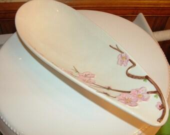 Poppytrail Peach Blossom by Metlox of California Teardrop Shape Dish