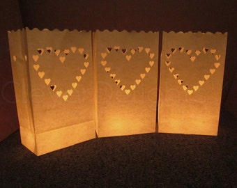 20 White Luminary Bags - Big Heart Design - Wedding, Reception, and Party Decor - Flame Resistant Paper - Candle Bag - Luminaria