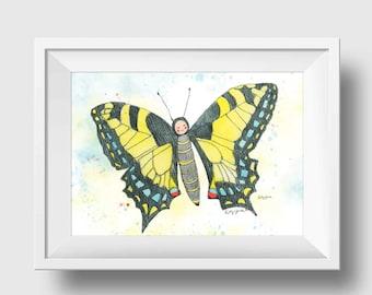 Swallowtail Butterfly Wall Art - Yellow Butterfly Wall Decor - Butterfly Nursery Art Print - Swallowtail Butterfly Watercolor
