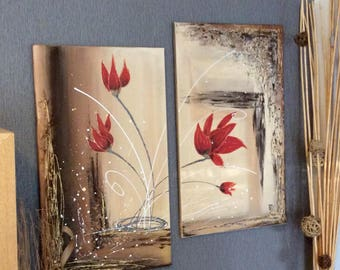 "Contemporary abstract painting diptych floral ""Tulips red flames"" 35cm / 60cm x 2"