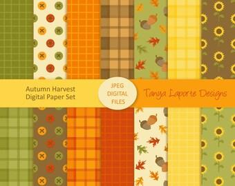 """Autumn Paper set - Fall Digital paper pack - 12x12"""" - 300DPI JPEG Files - 14 patterns"""