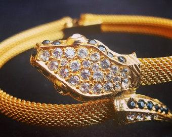 Vintage Snake Bracelet Rhinestone Serpent Bangle Snake Lover