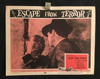 Original 1955 Escape From Terror Lobby Card Movie Poster, Jackie Coogan, Gabriel Dell