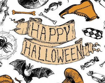 Happy Halloween by Springs Creative, 100% Premium Cotton by the Yard