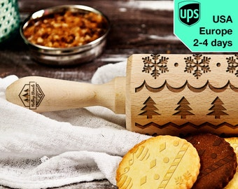 Winter - laser engraved rolling pin, embossing rolling pin